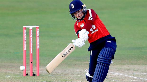Tammy Beaumont shared an opening stand of 59 with Danni Wyatt as England Women cruised to a seven-wicket T20 win over New Zealand (Mike Egerton/PA Images).