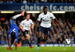 LONDON, ENGLAND - MAY 08:  Emanuel Adebayor of Spurs goes past the challenge from Ramires of Chelsea during the Barclays Premier League match between Chelsea and Tottenham Hotspur at Stamford Bridge on May 8, 2013 in London, England.  (Photo by Shaun Botterill/Getty Images)