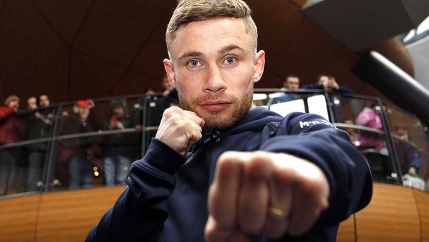 PACEMAKER BELFAST   25/02/2015 Carl Frampton Public Workout Victoria Square Carl Frampton IBF World super-bantamweight Champion pictured in Victoria Square during a public Workout ahead of his title defence against Chris Avalos. Photo Aidan O'Reilly/Pacemaker Press