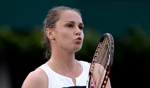 LONDON, ENGLAND - JUNE 25:  Magdalena Rybarikova of Slovakia reacts during her Ladies' Singles first round match against Barbora Zahlavova Strycova of Czech Republic on day two of the Wimbledon Lawn Tennis Championships at the All England Lawn Tennis and Croquet Club on June 25, 2013 in London, England.  (Photo by Dennis Grombkowski/Getty Images)