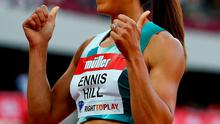 Thumbs up: Jessica Ennis-Hill is delighted with her season's best time in the 100m hurdles
