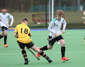 Sullivan Upper's Connor Matthews, right, in action against RBAI's Ben McKinstry during their Burney Cup Semi-Final at Instonians Hockey Club.  Photo by Peter Morrison