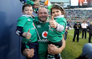 The AIG Rugby Weekend, Solider Field, Chicago, USA 5/11/2016 Ireland vs New Zealand All Blacks Ireland's Rory Best celebrates winning with his children Ben and Penny Mandatory Credit �INPHO/Dan Sheridan