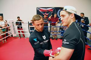 Press Eye - Belfast -  Northern Ireland - 15th July 2015 - Boxer Carl Frampton (left) is pictured with trainer Shane McGuigan (right) during an open training session in El Paso, Texas before  defending his IBF World title against Alejandro Gonzalez Jr on Saturday evening.  Picture by Jorge Salgado / Press Eye