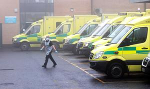 Ambulances lined up in the admissions area at Antrim hospital on Monday. Credit: Stephen Davison/Pacemaker