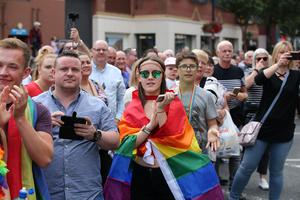 Press Eye - Belfast - Northern Ireland  - 5th August 2017   Thousands of people take part in the annual Belfast Pride event in Belfast city centre celebrating Northern Ireland's LGBT community.  Photo by Kelvin Boyes / Press Eye.