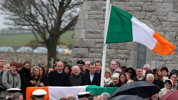 The coffin arrives for the funeral of Captain Dara Fitzpatrick, who died in the Coast Guard helicopter tragedy off Blacksod, Co Mayo at St Patrick's Church, Glencullen. Picture date: Saturday March 18, 2017. See PA story IRISH Coastguard. Photo credit should read: Brian Lawless/PA Wire