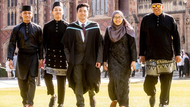 Mohammad Hafizzan bin Haji Nordin graduates with a Master of Pharmacy from the School of Pharmacy at Queen's University. Mohammad is pictured with his family who travelled from Brunei to celebrate.