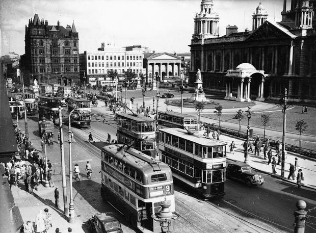 Donegall Square North and East. Belfast.  26/7/1948 BELFAST TELEGRAPH COLLECTION/NMNI