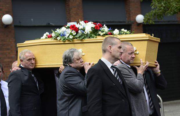 The funeral of Sammy Pavis ex-Linfield and Glentoran player took place today. Arthur Allison/Pacemaker Press