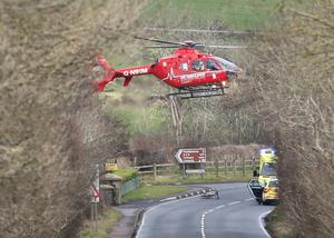 The NI Air Ambulance comes in to land on the Cromore Road in Portstewart Co-Derry following a crash involving a cyclist and a car on Saturday afternoon.  Picture Margaret McLaughlin 7-3-2020  see story