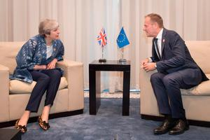 Prime Minister Theresa May meets with EU Council President Donald Tusk during the first Arab-European Summit on February 24, 2019 in Sharm El Sheikh, Egypt. (Photo by Stefan Rousseau - Pool/Getty Images)