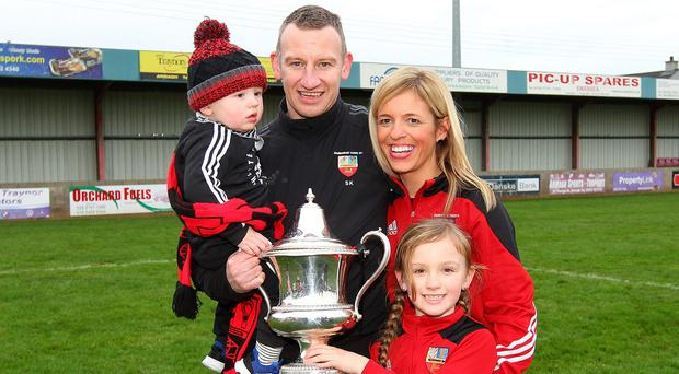 Banbridge Town manager Stuart King and family celebrate his first managerial success. Photo Alan Weir/Pacemaker Press