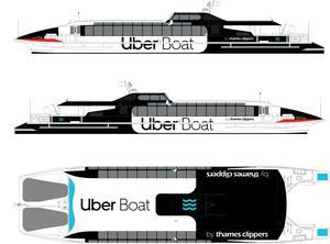 The design of an Uber Boat by Thames Clippers (Uber/Thames Clippers/PA)
