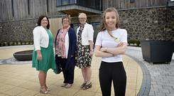L-R is Kathleen Toner (Director of the Fostering Network), Una Carragher (Manager of the Regional Adoption and Fostering Service), Marie Roulston (Director of Women, Children and Families Division, Northern HSC Trust) and young person Rachel.