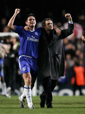 FILE - JUNE 02, 2013:  Jose Mourinho has been confirmed as Chelsea FC manager, returning to the club for a second term in charge, having left the club in 2007. LONDON - MARCH 8:  Frank Lampard and Jose Mourinho of Chelsea celebrate victory at the end of the UEFA Champions League, First Knockout Round, Second Leg match between Chelsea and Barcelona at Stamford Bridge on March 8, 2005 in London, England.  (Photo by Shaun Botterill/Getty Images)