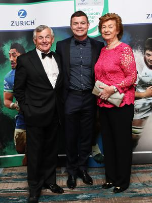 That's my boy: New Hall of Fame inductee Brian O'Driscoll with his proud parents Frank and Geraldine O'Driscoll at last night's Zurich Rugby Players Ireland Player's Awards in Dublin
