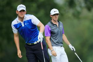 LOUISVILLE, KY - AUGUST 10:  (L-R) Bernd Wiesberger of Austria and Rory McIlroy of Northern Ireland look on from the fifth tee during the final round of the 96th PGA Championship at Valhalla Golf Club on August 10, 2014 in Louisville, Kentucky.  (Photo by David Cannon/Getty Images)