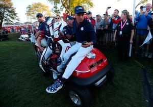 USA's Rickie Fowler checks his phone during the Fourballs on day two of the 41st Ryder Cup at Hazeltine National Golf Club in Chaska, Minnesota, USA. David Davies/PA Wire.