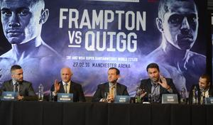 PACEMAKER BELFAST 18/11/2015 World Champions Carl Frampton and Scott Quigg  with their teams during a Press Conference at the Europa Hotel in Belfast on Wednesday, ahead of the super-bantamweight title fight in Manchester on the 27th February. Photo Colm Lenaghan/Pacemaker Press