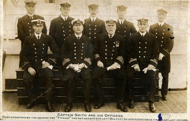 Photograph of Captain Edward Smith and his officers before taking command of the ill-fated Titanic, which is to be sold at auction in Devizes, Wiltshire. PA
