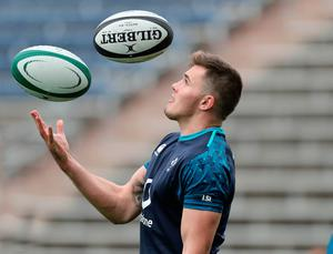 Ready for action: Jacob Stockdale training in Chicago last night