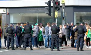 Picture - Kevin Scott / Presseye  Tuesday 17th March 2015 - Flag Standoff  Pictured is Loyalist Flag Protesters and St Patricks day revellers at a stand off outside Belfast City Hall   Picture - Kevin Scott / Presseye
