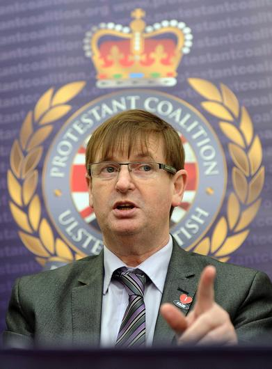 Loyalist campaigner Willie Frazer at the launch of New Party  (Protestant Coalition) at La Mon Hotel outside Belfast Picture Pacemaker.