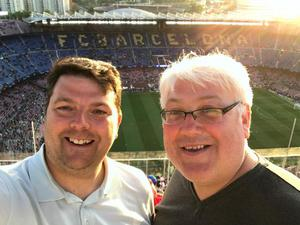 Andy Kelly (right) with Liverpool-supporting friend Philip Smart at the 2019 Champions League semi-final first leg in Barcelona.