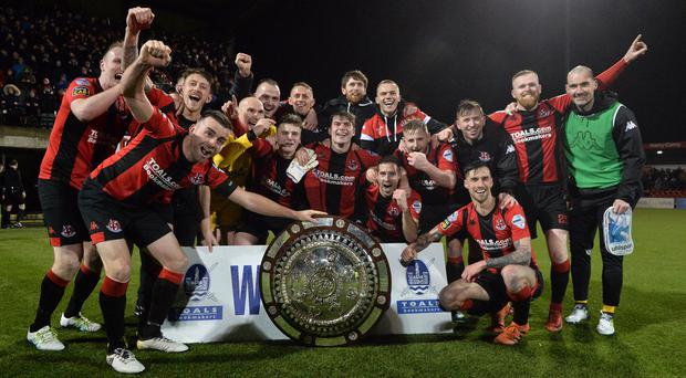 Crusaders celebrate with the County Antrim Shield