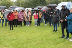 The vigil which was held in Strabane, County Tyrone in memory of 14 years old Noah Donohoe, whose mum Fiona is from the town. Picture Martin McKeown. 28.06.20