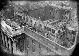 File photo dated 11/05/1916 of damage in Dublin from the top of the Nelson Pillar. PA