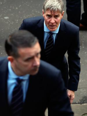 Richard Gough attends the funeral of former Rangers footballer Fernando Ricksen at Wellington Church, Glasgow. PA Photo. Picture date: Wednesday September 25, 2019. The former Holland international died aged 43 a week ago, six years after being diagnosed with motor neurone disease. Ricksen played more than 250 times for the Light Blues after joining from AZ Alkmaar in 2000, winning two league titles during his time in Glasgow. See PA story SOCCER Ricksen. Photo credit should read: Andrew Milligan/PA Wire.