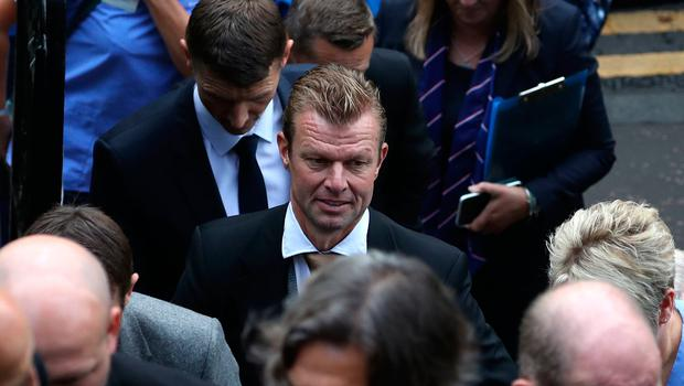 Arthur Numan attends the funeral of former Rangers footballer Fernando Ricksen at Wellington Church, Glasgow. PA Photo. Picture date: Wednesday September 25, 2019. The former Holland international died aged 43 a week ago, six years after being diagnosed with motor neurone disease. Ricksen played more than 250 times for the Light Blues after joining from AZ Alkmaar in 2000, winning two league titles during his time in Glasgow. See PA story SOCCER Ricksen. Photo credit should read: Andrew Milligan/PA Wire.