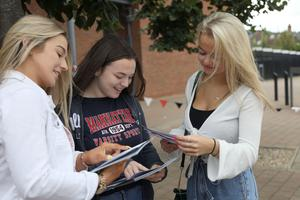 PACEMAKER PRESS 15/8/2019 A Level Students Jordyn Lindsay, Laura Todd and Jamie Leigh Drennan from Grosvenor Grammar School. There has been a rise in the proportion of top A-level grades awarded to pupils in Northern Ireland. About 28,000 students received their A-level and AS-level results on Thursday morning. Just over 30% of entries were awarded A* or A grades, a rise of half a per cent on 2018.  Photo by Laura Davison/Pacemaker Press