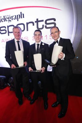 Winners all: Telegraph Sports Star of the Year Michael Conlan, flanked by Coach of the Year Michael O'Neill and Hall of Fame entrant Martin O'Neill