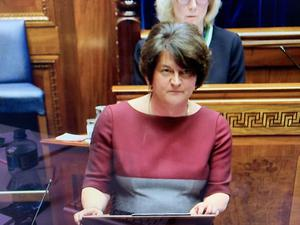 First Minister Arlene Foster announces a five-stage plan for easing the Covid-19 lockdown in Northern Ireland has been published by the executive. Pacemaker