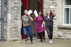 A-Level results day 2016 - Emma Connolly, Shusma Balaji and Christina O'Boyle of St Dominic's on the 18th August 2016, Belfast , Northern Ireland ( Photo by Kevin Scott / Belfast Telegraph )