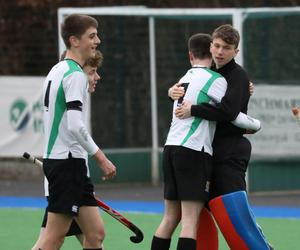 Sullivan Upper players celebrate after wining against RBAI during their Burney Cup Semi-Final at Instonians Hockey Club.  Photo by Peter Morrison