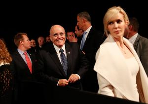 LAS VEGAS, NV - OCTOBER 19:  Former New York City mayor Rudy Giuliani (C) arrives before the start of the third U.S. presidential debate at the Thomas & Mack Center on October 19, 2016 in Las Vegas, Nevada. Tonight is the final debate ahead of Election Day on November 8.  (Photo by Drew Angerer/Getty Images)