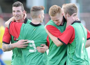 Action from Glentoran II v St Pat's YM, Steel & Sons Cup, September 14