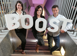 Ulster Bank's Lisa McCaul (centre) launches Boost at The Mac in Belfast with entrepreneurs Emma Gribben and Tom Griffiths