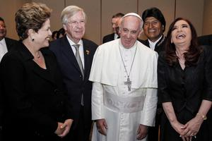 In this image released by Brazil's Presidential Press Office, Pope Francis meets with Brazil's President Dilma Rousseff, from left, Uruguay's Vice President Danilo Astori, Bolivia's President Evo Morales, and Argentina's President Cristina Fernandez, in Rio de Janeiro, Brazil, July 28, 2013. Francis wrapped up a historic trip to his home continent Sunday with a Mass that drew a reported 3 million people. (AP Photo/Brazil's Presidential Press Office, Roberto Stuckert Filho)