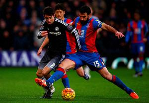 LONDON, ENGLAND - JANUARY 03:  Oscar of Chelsea is fouled by Mile Jedinak of Crystal Palace during the Barclays Premier League match between Crystal Palace and Chelsea at Selhurst Park on January 3, 2016 in London, England.  (Photo by Ian Walton/Getty Images)