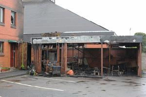 Press Eye - Belfast - Northern Ireland - 25th May 2019 -   A late-night fire at a church in Londonderry is being treated as arson, the Northern Ireland Fire and Rescue Service (NIFRS) has said. The fire happened at Holy Family Church in Ballymagroarty shortly after 22:00 BST on Friday night.  The parochial house of the church was evacuated and 20 firefighters tackled the blaze.   Photo by Lorcan Doherty / Press Eye.