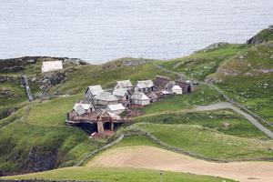 The site where the set of the movie The Northmen is being erected on Torr Head County Antrim, a remote area of Northern Ireland (Niall Carson/PA)