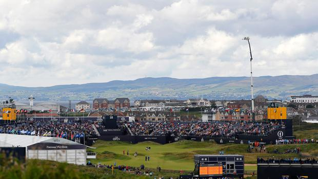 PORTRUSH, NORTHERN IRELAND - JULY 20: A general view of the 18th green  during the third round of the 148th Open Championship held on the Dunluce Links at Royal Portrush Golf Club on July 20, 2019 in Portrush, United Kingdom. (Photo by Kevin C. Cox/Getty Images)