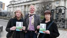 Fiona Joyce from Stop The Drill, James Orr from Friends of the Earth and Majella McCarron from Stop The Drill outside court