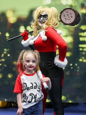 Three year old Tilly Penney as Harley Quinn at the Showtime Comic Con at the Titanic Exhibition centre, Belfast. (Photo by Colm O'Reilly, Sunday Life)