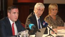 (left to right) Solicitor Gavin Booth, and cousins Michael Donegan and Eileen Boland, family of Seamus Ludlow, speaking to the media (Niall Carson/PA)